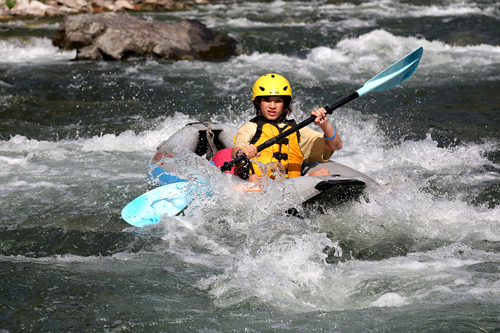 Inflatable kayak on the salmon river
