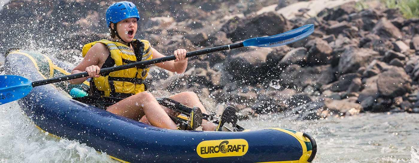 Inflatable kayak on Salmon River Canyons