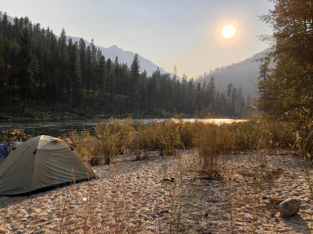 Camp shot main salmon tent sun